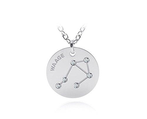 silvity Edelstahl Gravur Sternzeichen Kette verdelt mit Swarovski® Kristallen Sternzeichen: Waage 696404-20-P