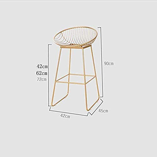 PIVFEDQX Bar Stool Bar Stool Dining Chair, Wrought Iron Stool Leisure Metal Chair Coffee Shop High (Color : Pink, Size : 72cm)