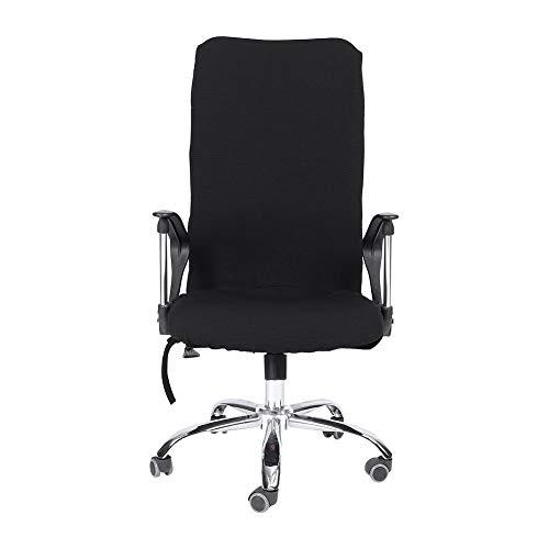 Housse fauteuil bureau, housse de chaise de bureau universelle, Amovible extensible Chaise pivotante Couvre bureau Fauteuil confortable siège Slipcovers (Noir S)