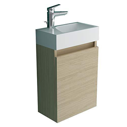 Alpenberger Lugano 400 (Schatte Soft Oak) Vormontiertes 40cm Badmöbel-Set   Waschbeckenunterschrank mit Soft-Close Funktion   Elegante&Platzsparende Einrichtungslösung…