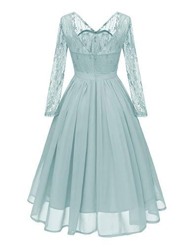 VKStar® 50er Rockabilly Kleid Polka Dots Petticoat Punkte Vintage ärmellos Abendkleid Grün S - 2