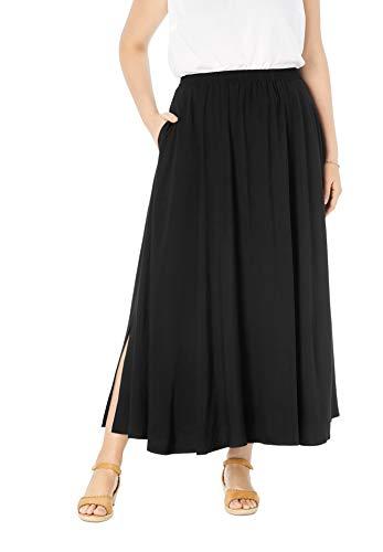 Woman Within Women's Plus Size Pull-On Elastic Waist Soft Maxi Skirt - 20 W, Black
