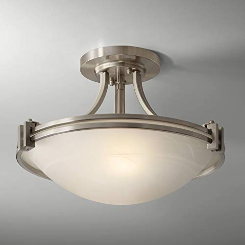 """Deco Contemporary Modern Ceiling Light Semi-Flush Mount Fixture Brushed Nickel 16"""" Wide White Marbleized Glass Bowl for House Bedroom Hallway Living Room Bathroom Dining Kitchen - Possini Euro Design"""