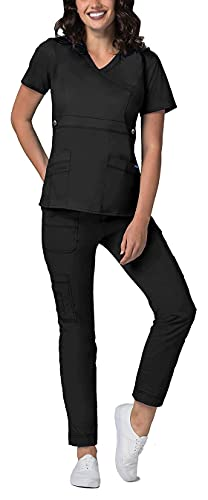 Adar Active Classic Scrub Set for Women - Crossover Top and Multi Pocket Pants - 3500 - Black - M