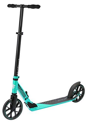 CITYGLIDE C200 Kick Scooter for Adults, Teens - Foldable, Lightweight, Adjustable - Carries Heavy Adults 220LB Max Load (Teal)