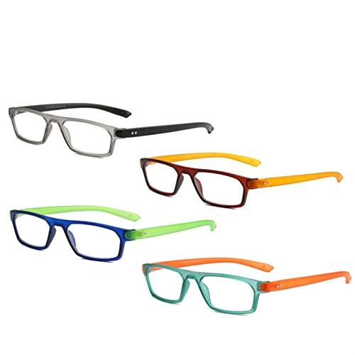 Gafas de Lectura, Gafas de Lectura de 4 Paquetes for Hombres, Marco Rectangular lectores de piernas más largas, lupas, Lectura de Gran cantidad de Fuerza 0 a + 3 (Color : +150, Size : 4pcs)