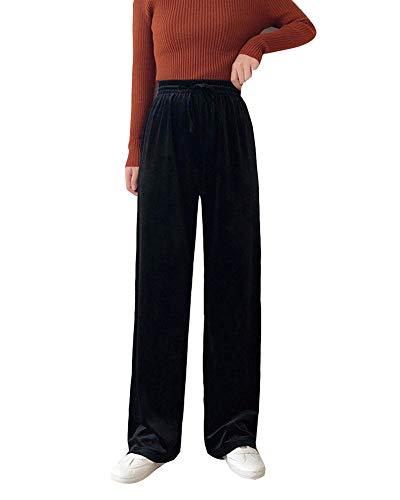 GladiolusA Mujer Pantalones De Chándal Largos Terciopelo Cintura Alta Elástica