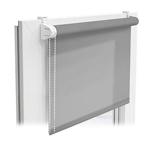 casa pura® Sichtschutzrollo - lichtdurchlässiges Rollo als Sichtschutz am Fenster - Fensterrollo in vielen Größen und Farben | Grau | 120x150cm