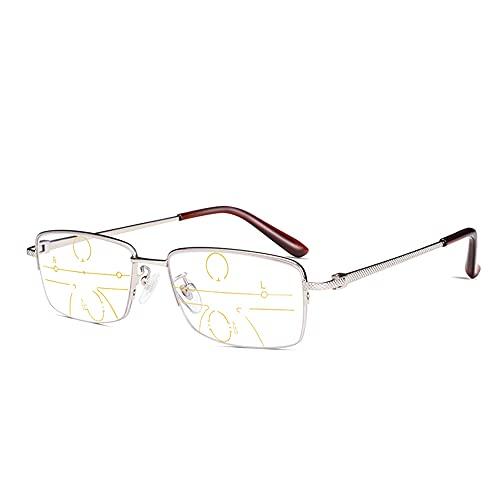 CAOXN Gafas De Lectura Anti-Luz Azul para Hombres, Montura De Titanio Puro Ultraligero Profesional, Gafas De Resina Multifocal De Alta Definición, Dioptrías +1.0 A 3.0,Plata,+1.50
