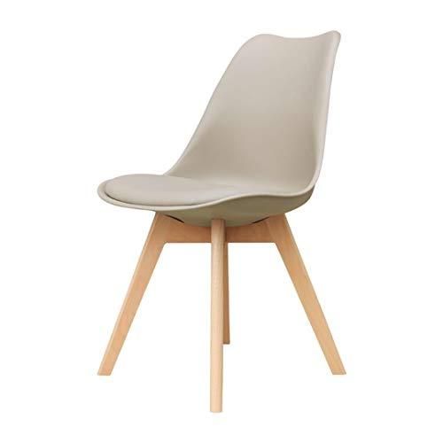 Zons Alba Stuhl aus Polypropylen, Taupe, mit Holzfüßen, skandinavischer Stil, 2 Stück