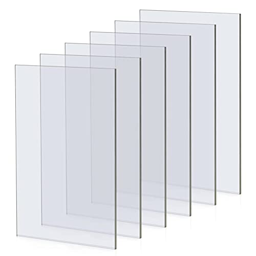 Hoja de Acrílico Rectangular de 5 x 7 Pulgadas, Hojas de Acrílico Transparente, Hoja de Plástico Acrílico, Material Transparente de Plantillas de Mylar para Marco de Fotos de Vidrio, 6 Paquetes