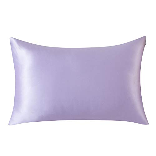 SLPBABY 100% Natural Pure Silk Pillowcase for Hair and Skin, Both Side 19 Momme Silk, Luxury Smooth Satin Pillowcase Cover with Hidden Zipper (Queen, Lavender)