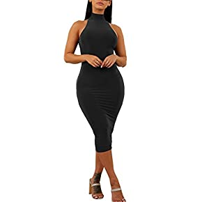 GOBLES Women's Sexy Halter High Neck Elegant Sleeveless Bodycon Midi Club Dress