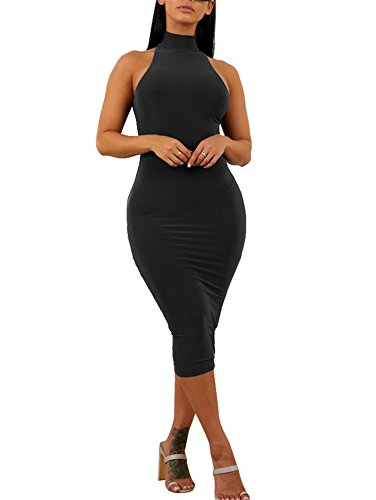 GOBLES Women's Sexy Halter High Neck Elegant Sleeveless Bodycon Midi Club Dress Black