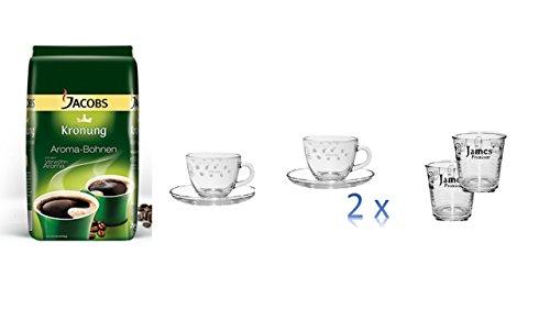 Jacobs Krönung Aroma-Bohnen, ganze Bohnen, Kaffeebohnen, 1er Pack, 1 x 500g + 2 Espresso Tassen cc75 + 2 Wassergläser von James Premium®