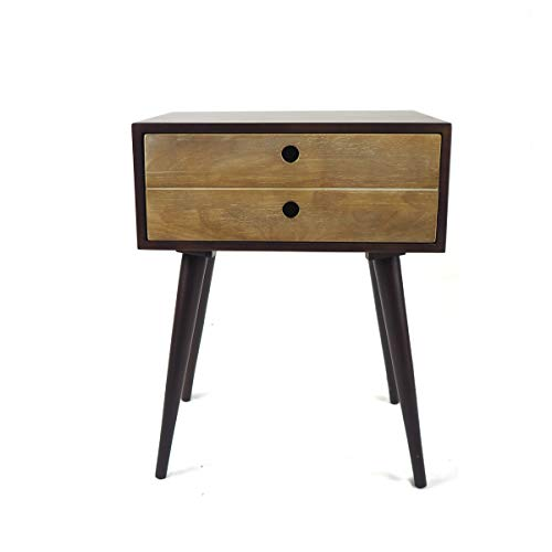 Penguin Home Mid Century Choc Brown and Wheat Side Table, Mango Wood, 49x35x61 cm