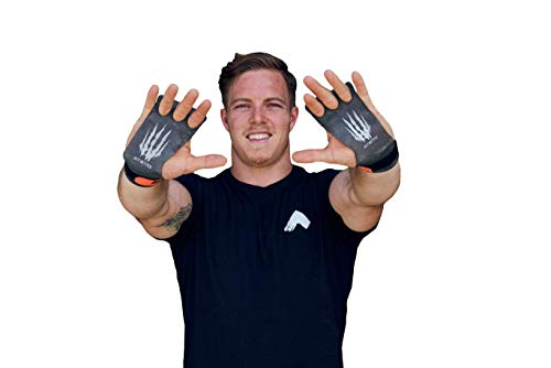 Bear KompleX 3 & 2 Hole Carbon Hand Grips for Gymnastics & Crossfit, Pull-ups, Weight Lifting. WODs w, Wrist Straps. Comfort & Support-Hand Protection from Rips & Blisters. (Medium, 3-Hole)