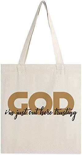MODORSAN Ich bin gerade hier draußen und vertraue auf God Canvas-Einkaufstasche, Umhängetaschen, Einkaufstaschen für Mädchen, Kleinigkeiten, Handtaschen und Tragetaschen für Bücher
