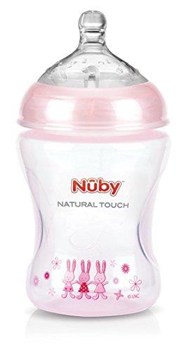 Nuby NT68008 - Natural Touch Weithalsflasche aus PP, 240 ml (Pink Design mit Soft-Flex Flaschensauger aus Silikon, 0 Monaten / Gr. S für langsamen Trinkfluss / Muttermilch, Milch, Tee, Säfte)