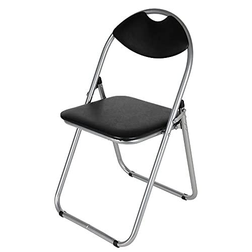 Spetebo Multistore 2002 Chaise pliante en métal avec dossier et rembourrage en plastique Noir