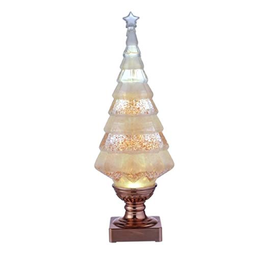 Grasslands Road Light Up Glitter Christmas Tree with Rose Gold Base, Battery-Operated