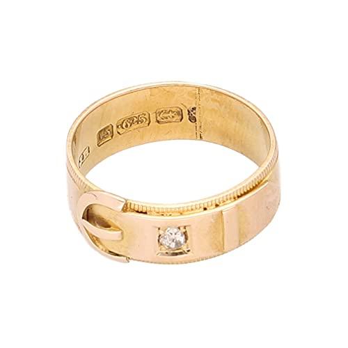 Anillo de lujo para mujer de oro amarillo de 15 quilates con hebilla de diamante (tamaño H 1/2) 7 mm de ancho
