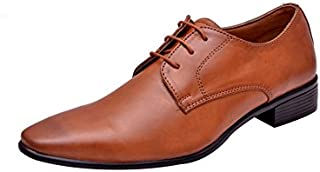 HiREL'S Men Tan Derby Lace Up Formal Shoes