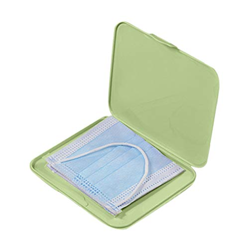 JSxhisxnuid Tragbare Aufbewahrungstasche für Mundschutz, Aufbewahrungsbox Kunststoff staubdicht, Wiederverwendbar Gesichtsschutz Zubehör, Mundund Nasenschutz (Grün)