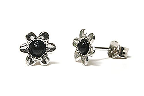 9ct White Gold Black Onyx flower stud Earrings