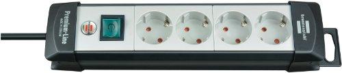 Brennenstuhl Premium-Line, Steckdosenleiste 4-fach (Steckerleiste mit Schalter und 1,8m Kabel - 45° Anordnung der Steckdosen, Made in Germany) schwarz/grau