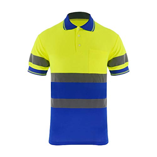 ZUJA Safety Hi Vis Polo Short Sleeve with Bright Visibility Tape Moisture Wicking Shirts Mens Construction Protective Workwear (Yellow&Blue,3XL)