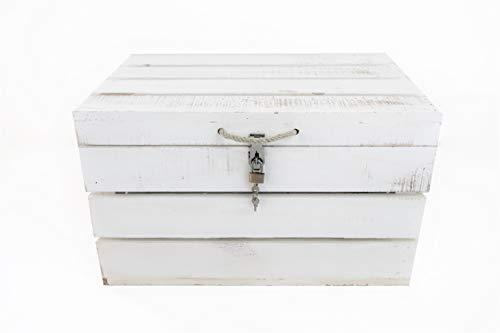 Baúl con Cerradura Blanco Vintage de Madera Sam, Blanco Vintage, Asas Cuerda,...