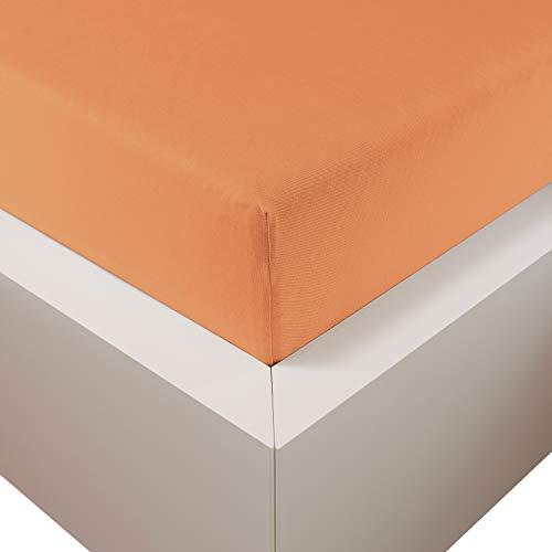 Traumschloss Edel-Jersey Spannbetttuch Premium Plus | Mandarine | Mako Baumwolle mit Lyocell & Elasthan | Bettlaken wärmt im Winter & kühlt im Sommer | hautsympatisch | 180-200 cm x 200-220 cm