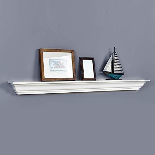 WELLAND Jefferson Crown Molding Floating Shelves Mantel Shelf (48-Inch, White)