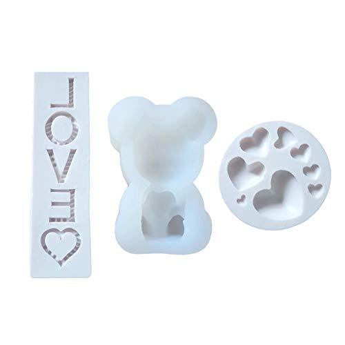 Silikonform hjärtformad björn-universalform, silikonform för alla hjärtans dag, chokladform för att dekorera kakor, choklad, godis, bakning osv, 3 stycken