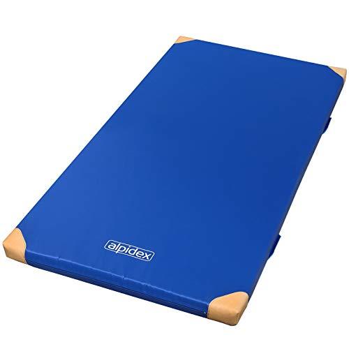 ALPIDEX Matte Turnmatte Sportmatte Gymnastikmatte 200 x 125 x 8 cm mit Anti-Rutschboden, Lederecken und Tragegriffen RG 120