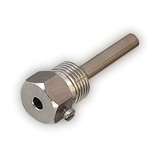 Tauchhülse Edelstahl V4A, G 1/2 Zoll, Einbaulänge 50mm für Temperaturfühler 6mm Heizung bis 600°C