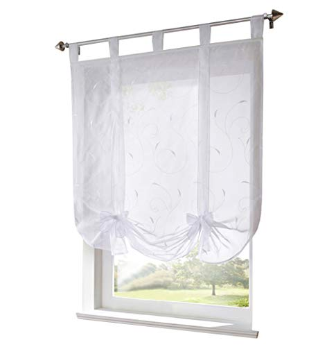 Store Romain Transparent LxH 80x140cm Broderie Blanc avec Ruban Rideau Voilage Intérieur de Fenêtre Décoration Salon Chambre Balcon Cuisine