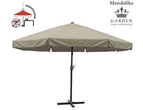 XXL Gastronomie Gartenschirm Mercato 500 Taupe, abnehmbare Kurbel und Teleskopfunktion, UV-Schutz 60 Plus, inklusive Plattenschirmständer, Mandalika Garden