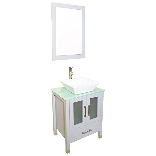 QIERAO 24 inch Gray Bathroom Solid Wood Vanity with Mirror Countertop Square Ceramic Vessel Sink (Gray)
