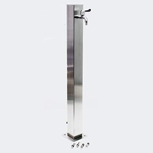 Columna de agua 95cm cuadrada de jardín, acero inoxidable, grifo, conexión, resitente a heladas y UV
