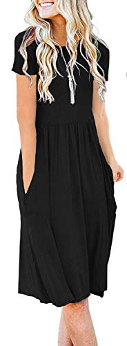 Women Solid Plain Pockets Empire Waist Loose Swing Casual Midi Spring Dress with Sleeve (2XL,Black) (Apparel)