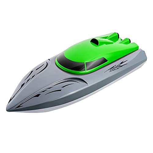 GOUDAN Imbarcazioni RC 2.4G per Bambini da Corsa ad Alta velocità 20KM/H - Telecomando per Barca a 2 canali, della Barca da Regata per Bambini con Telecomando Ricaricabile (Green)