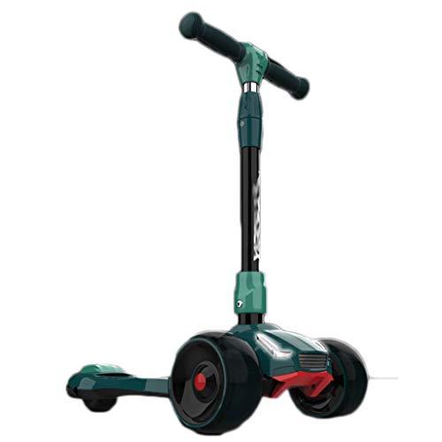 Scooters para Niños Luces de coches de color con scooter de música, scooter de deslizamiento magginílico, con ruedas de iluminación extra anchas y alturas ajustables Antideslizante Scooter Patinete Ni