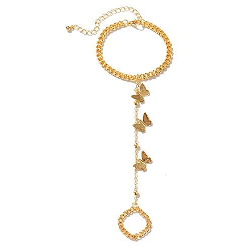 miaoyu Pulsera de dedo para mujer, pulsera de mariposa, estilo vintage, cadena simple y mariposa, pulsera de dedo 2021, regalo de joyería de moda (color de metal: IPA0885 1)