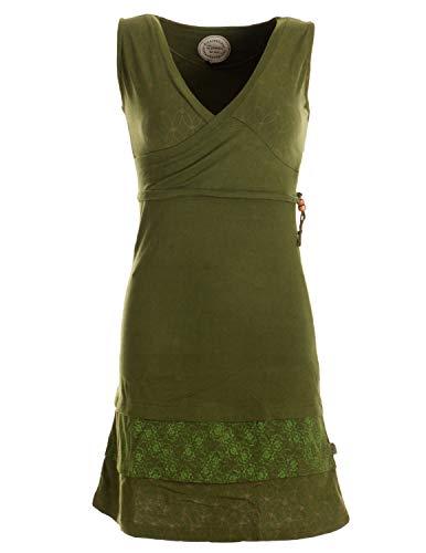 Vishes - Alternative Bekleidung - Kurzes ärmelloses Mini Sommerkleid Bedruckt - Tunika olivegrün 38 (M)