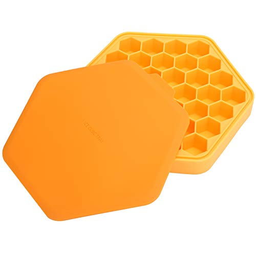 Ice Cubes Tray, Food‑Grade ‑20℃~220℃ Ice Tray, Silicone Flexible Kitchen Utensils Orange for Home Bakery