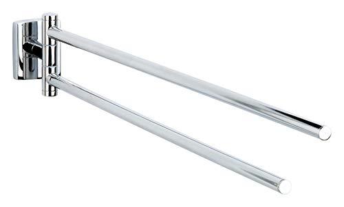 Tesa klaam Design-Handtuchhalter (inkl. Klebelösung, verchromt, rostfrei, 2 schwenkbare Arme, 82mm x 46mm x 460mm)