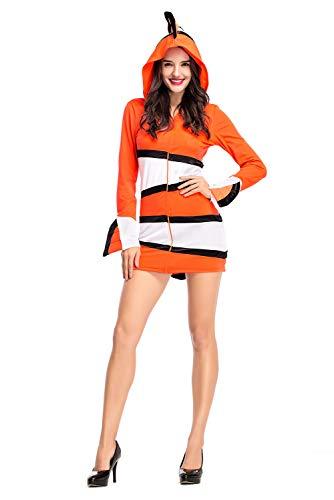 Jerho Frauen Clownfische Eltern Outfit Kostüm Halloween Cosplay Kostüm-Kinderkostüm Fisch orange Fasching Kostüm Clownfisch