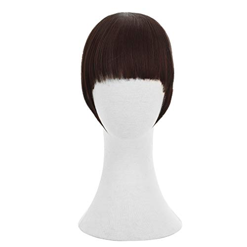 REECHO Fashion Full Length Synthetic 1 Piece Layered Clip in Hair Bangs Fringe Hairpieces Hair Extensions Color - Dark Brown